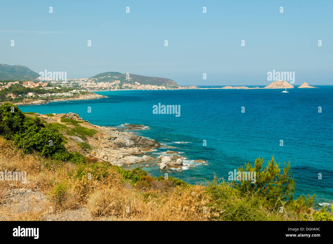 View of Ile Rousse, North Corsica, France - Stock Image