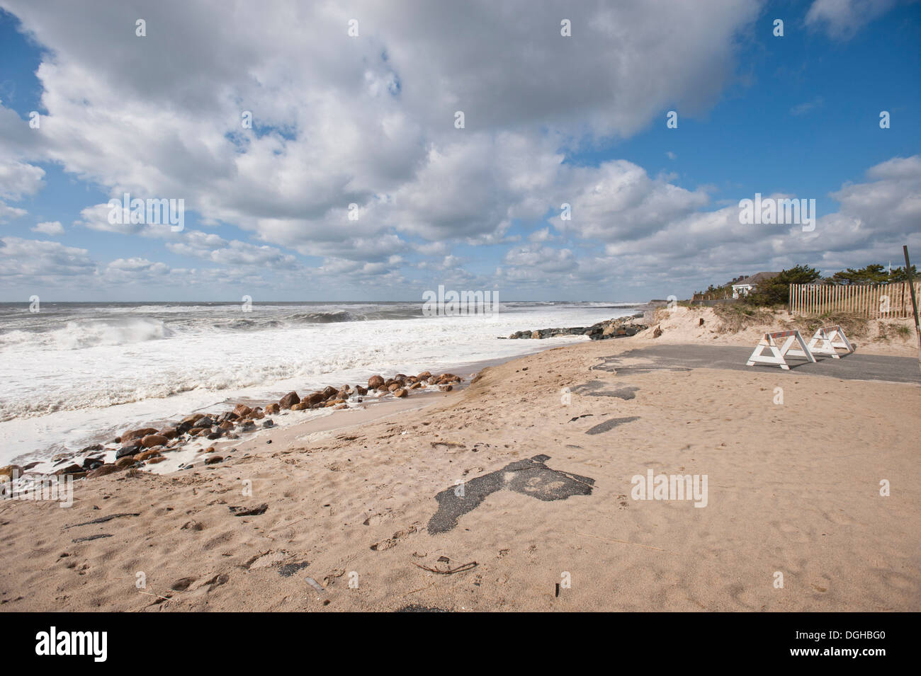 Erosion visible at Georgica Beach in East Hampton, NY,  Photo by Gordon M. Grant - Stock Image