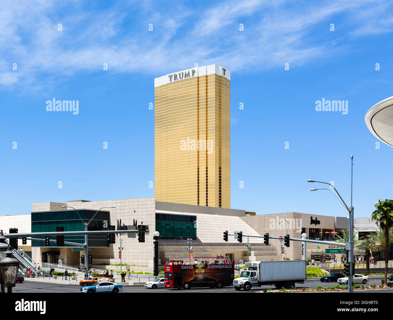 The Trump Hotel and Casino with Fahion Show Mall in foreground, Las Vegas, Nevada, USA Stock Photo