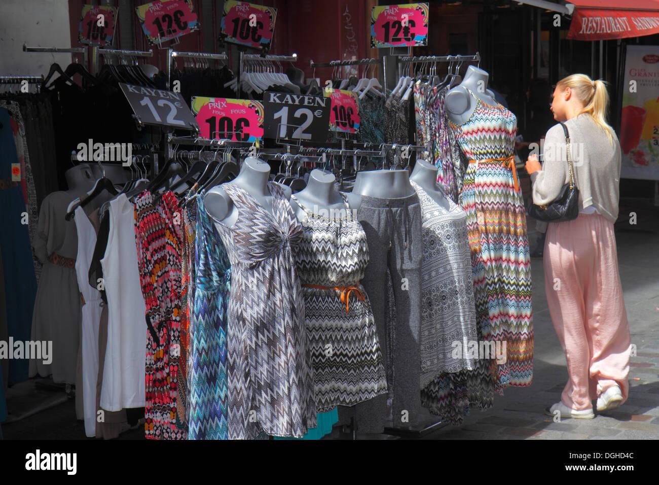 Paris France Europe French 9th arrondissement Rue de Caumartin shopping woman clothing dresses pricing Euros - Stock Image