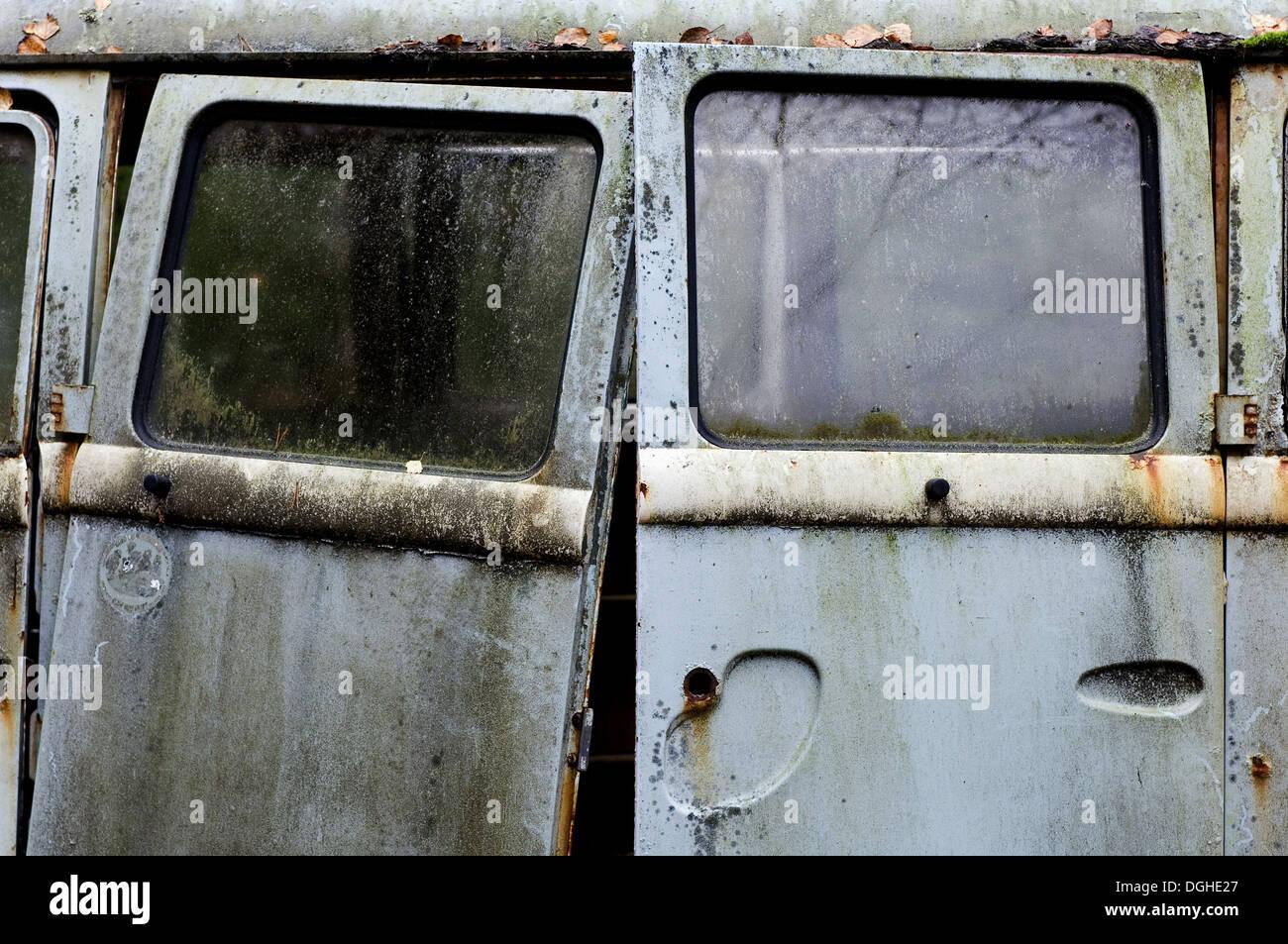 Close-up of doors on scrap Volkswagen camper van, Sweden, october Stock Photo