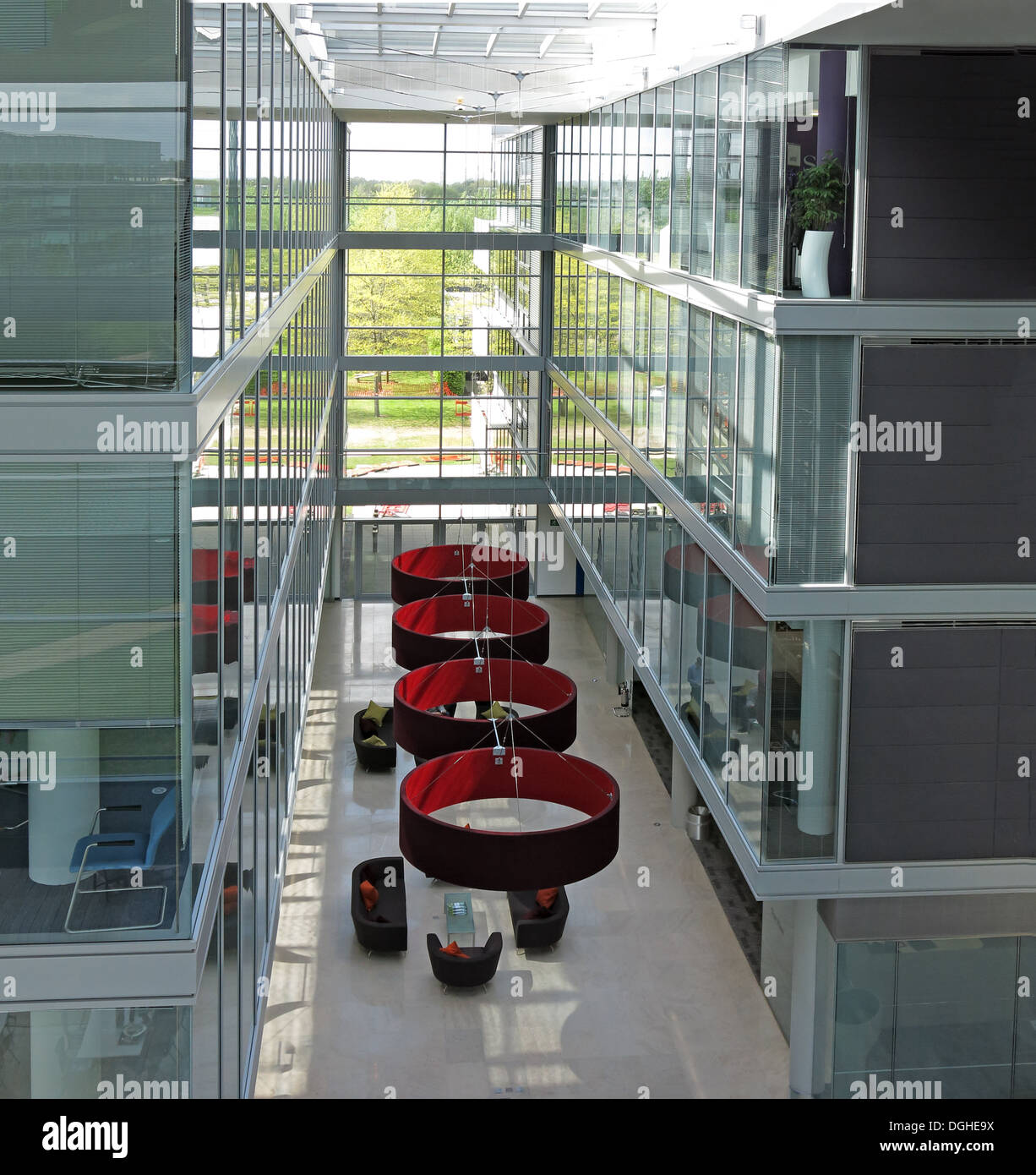 Glass office interior of building, Green Park Reading, UK - Stock Image
