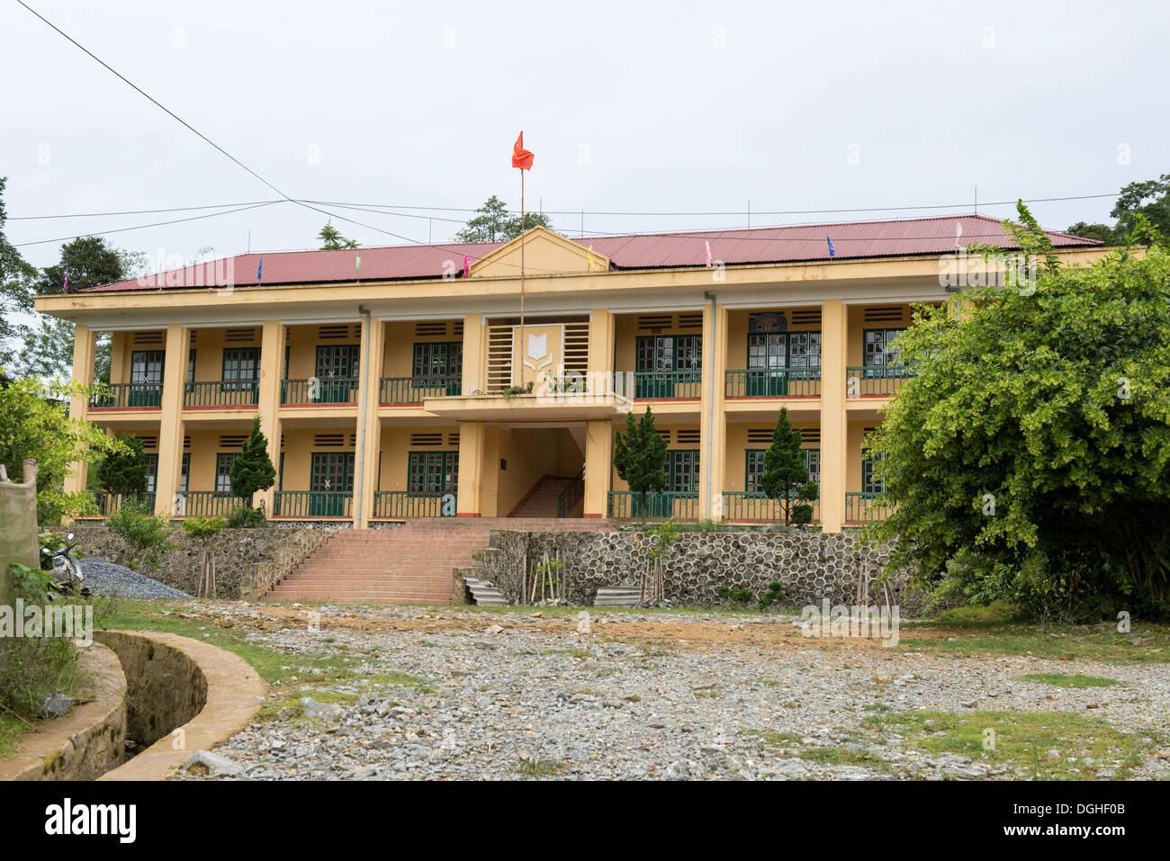 Minority group flower Hmong village school, Bac Ha, Lao Cai, Vietnam - Stock Image