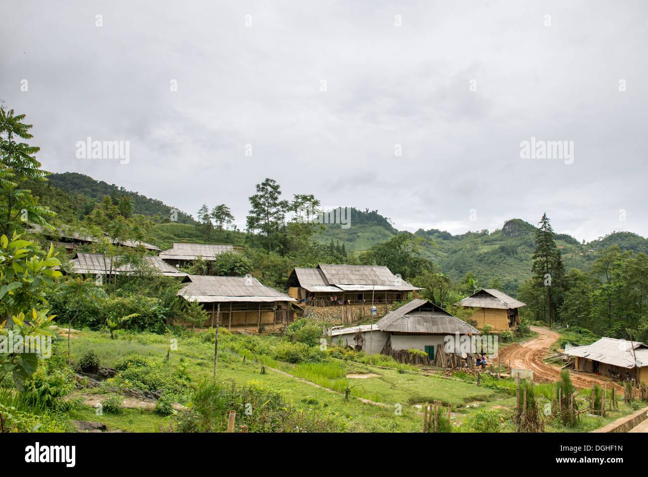 Minority group flower Hmong village landscape , Bac Ha, Lao Cai, Vietnam - Stock Image