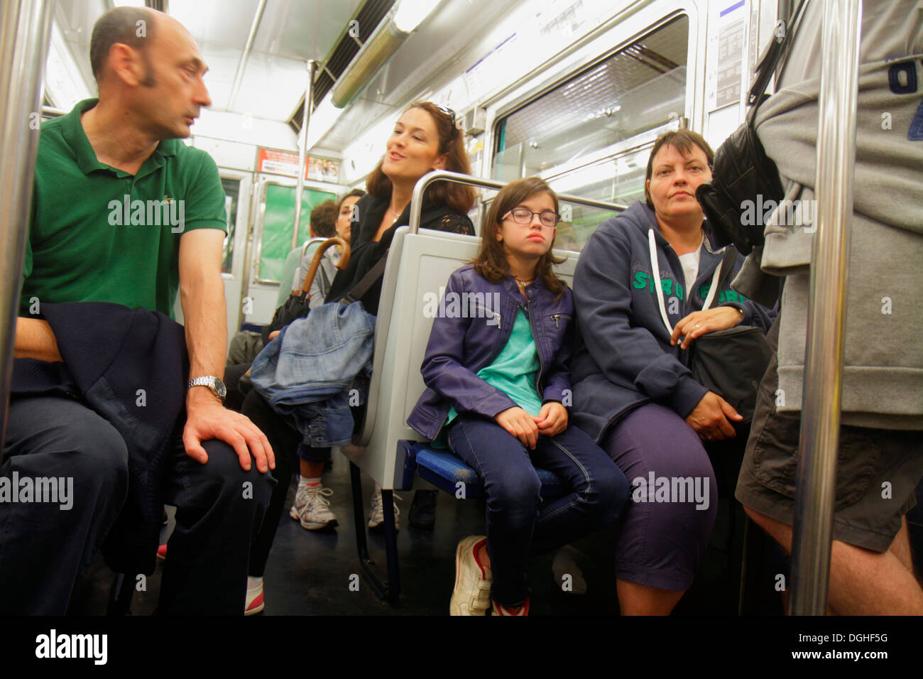 Paris France Europe French 9th arrondissement Saint St. Georges Metro Station Line 12 subway public transportation riders cabin - Stock Image