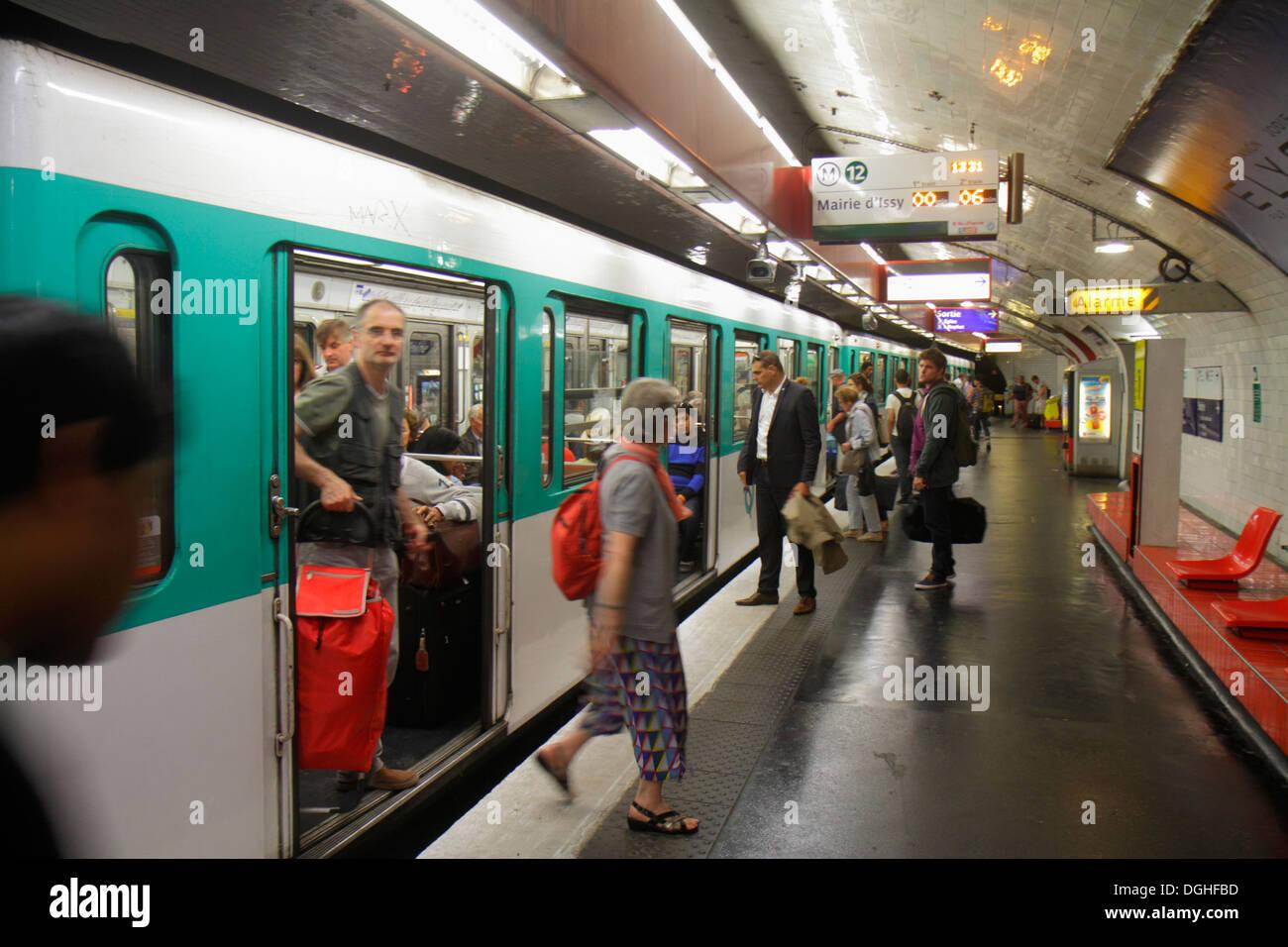 Paris France Europe French 8th arrondissement Madeleine Metro Station Line 8 12 14 subway public transportation Stock Photo