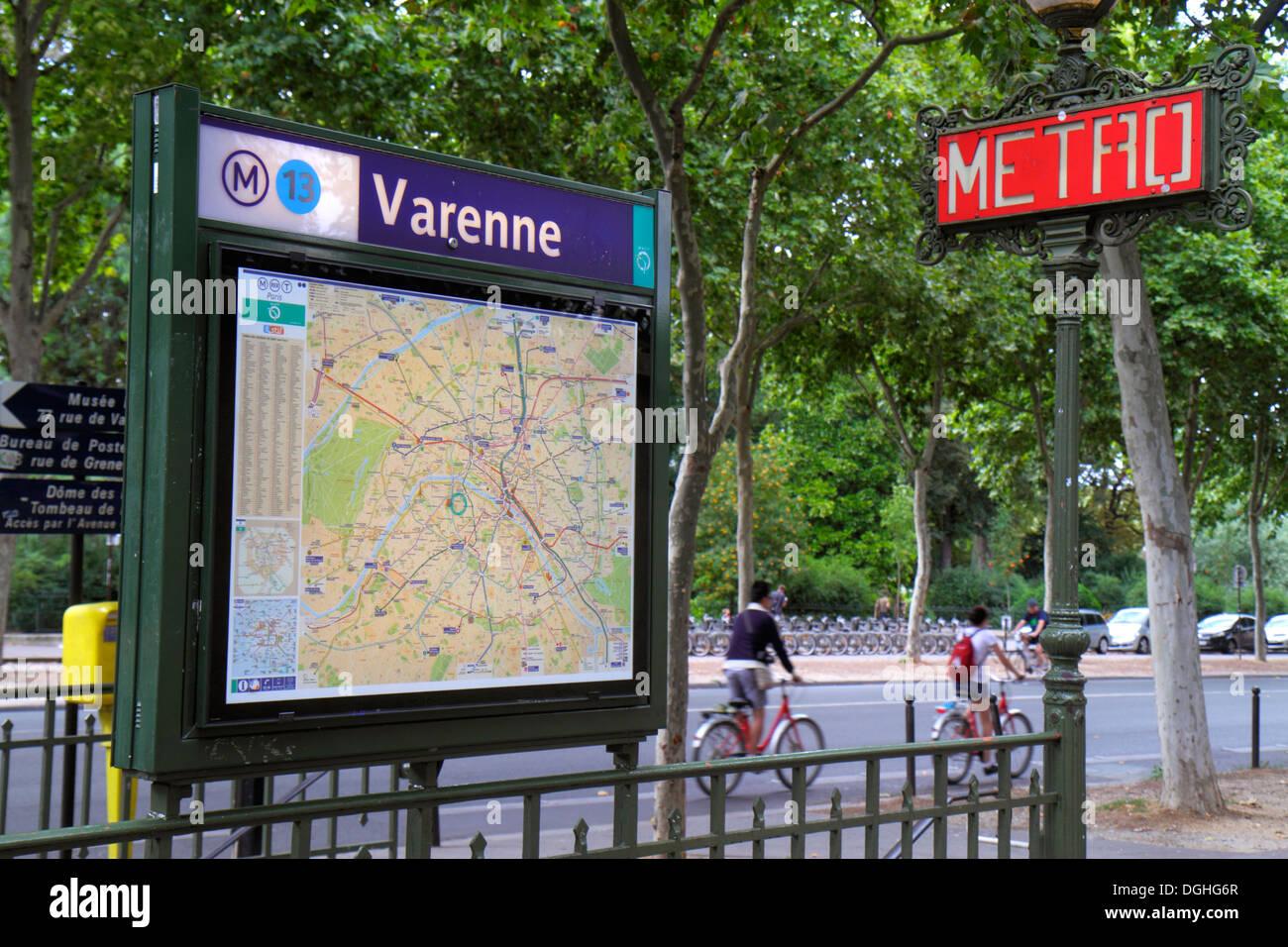 Paris France Europe French 7th arrondissement Boulevard des Invalides Varenne Metro Station Line 13 subway public Stock Photo