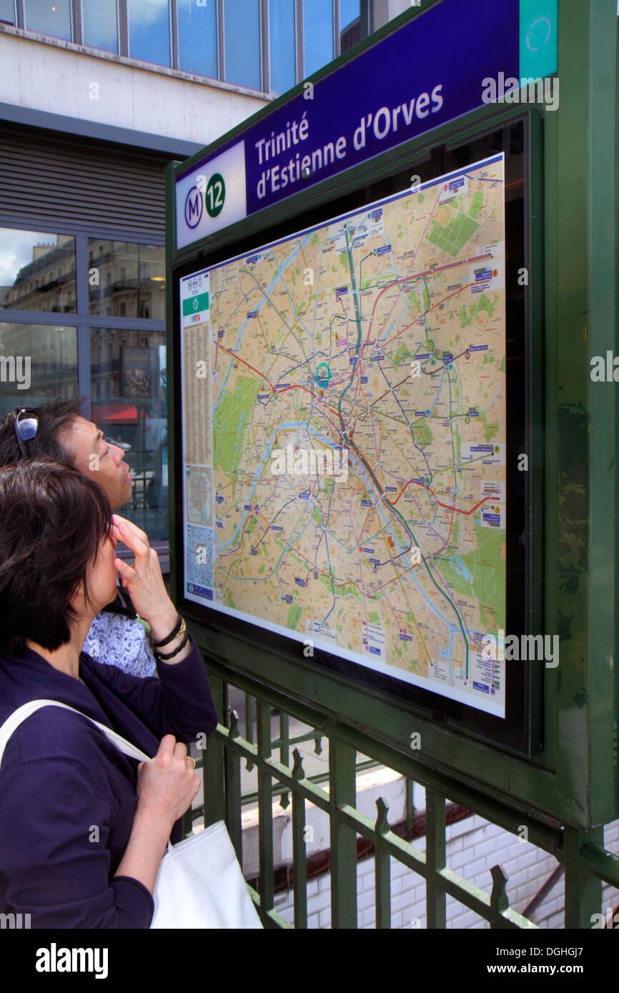 Paris France Europe French 9th arrondissement Trinite d'Estienne d'Orves Metro Station Line 12 subway public transportation syst - Stock Image