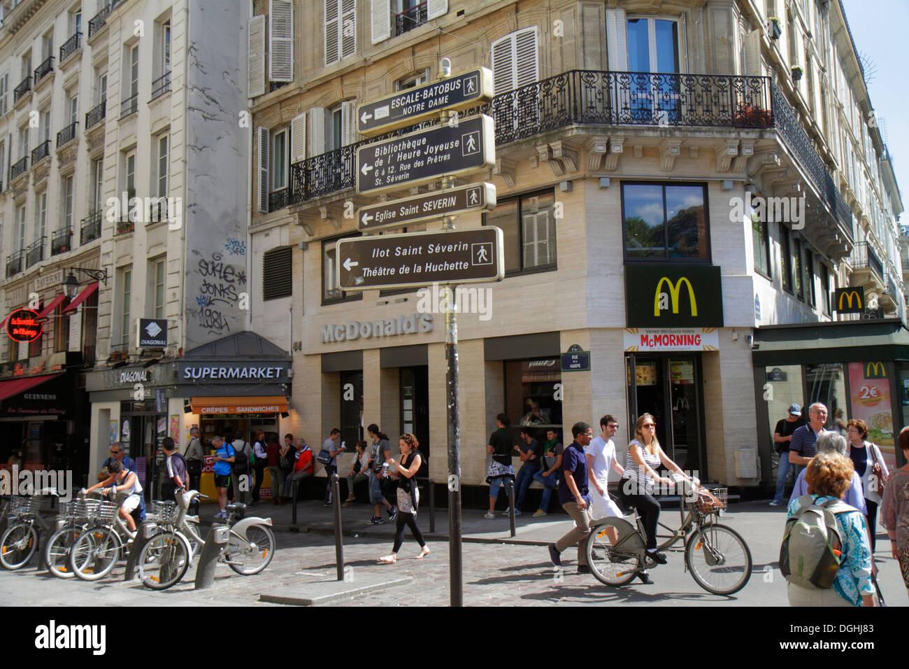 Paris France Europe French 5th arrondissement Latin Quarter Rive Gauche Left Bank Boulevard Saint-Germain McDonald's fast food r - Stock Image