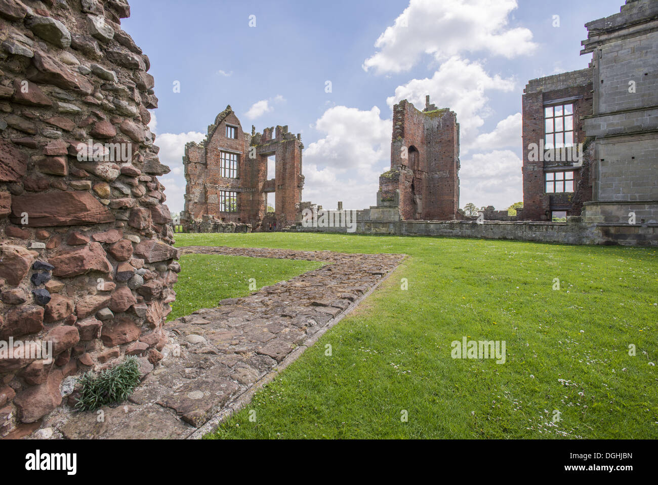 Ruins of Elizabethan manor house, Moreton Corbet Castle, Moreton Corbet, Shropshire, England, May - Stock Image