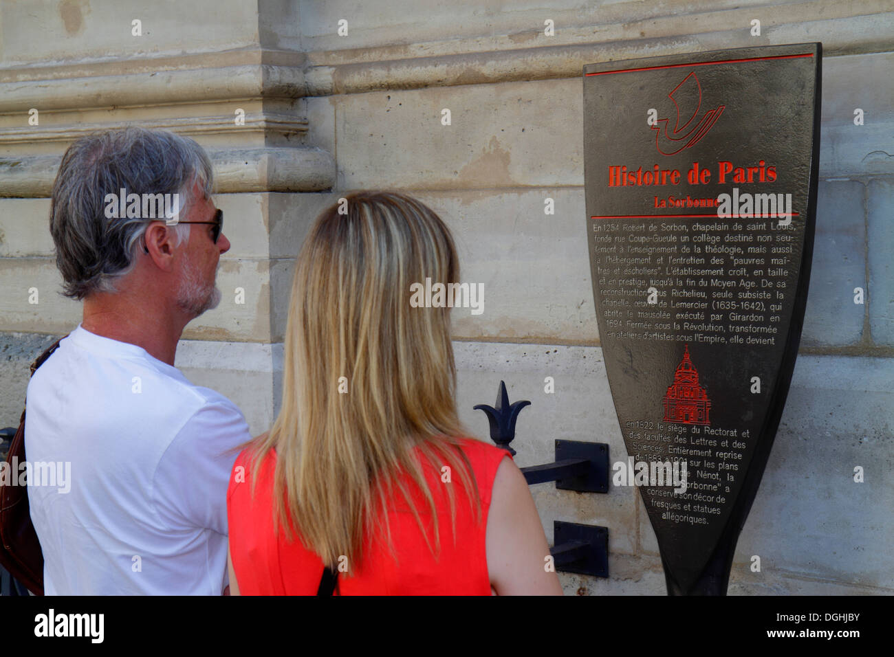 Paris France Europe French 5th arrondissement Latin Quarter Rive Gauche Left Bank Rue Victor Cousin La Sorbonne Paris University - Stock Image
