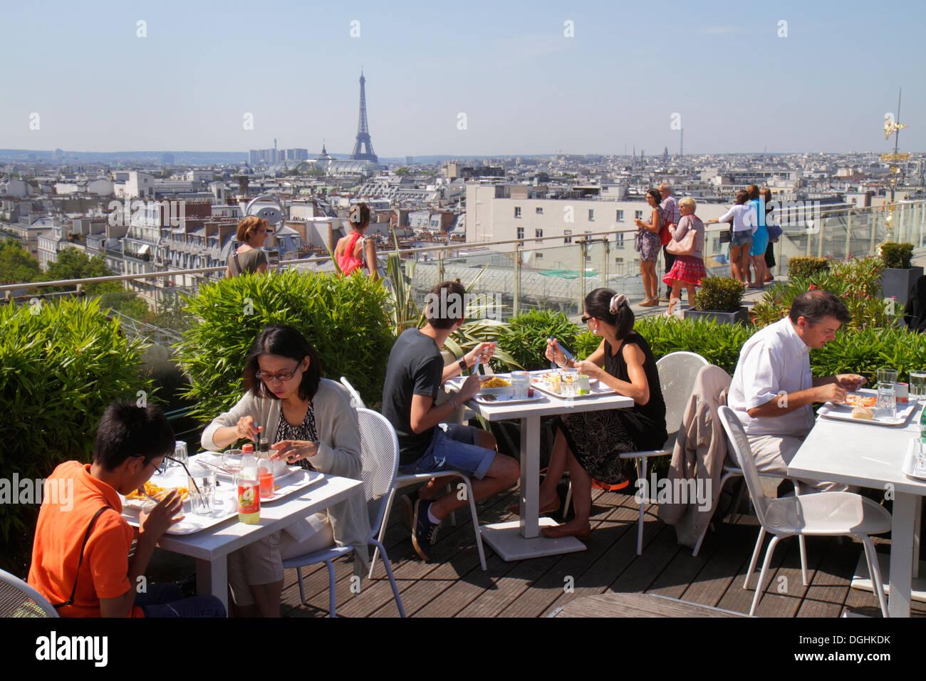 Paris France Europe French 9th arrondissement Boulevard Haussmann Au Printemps department store rooftop terrace Stock Photo