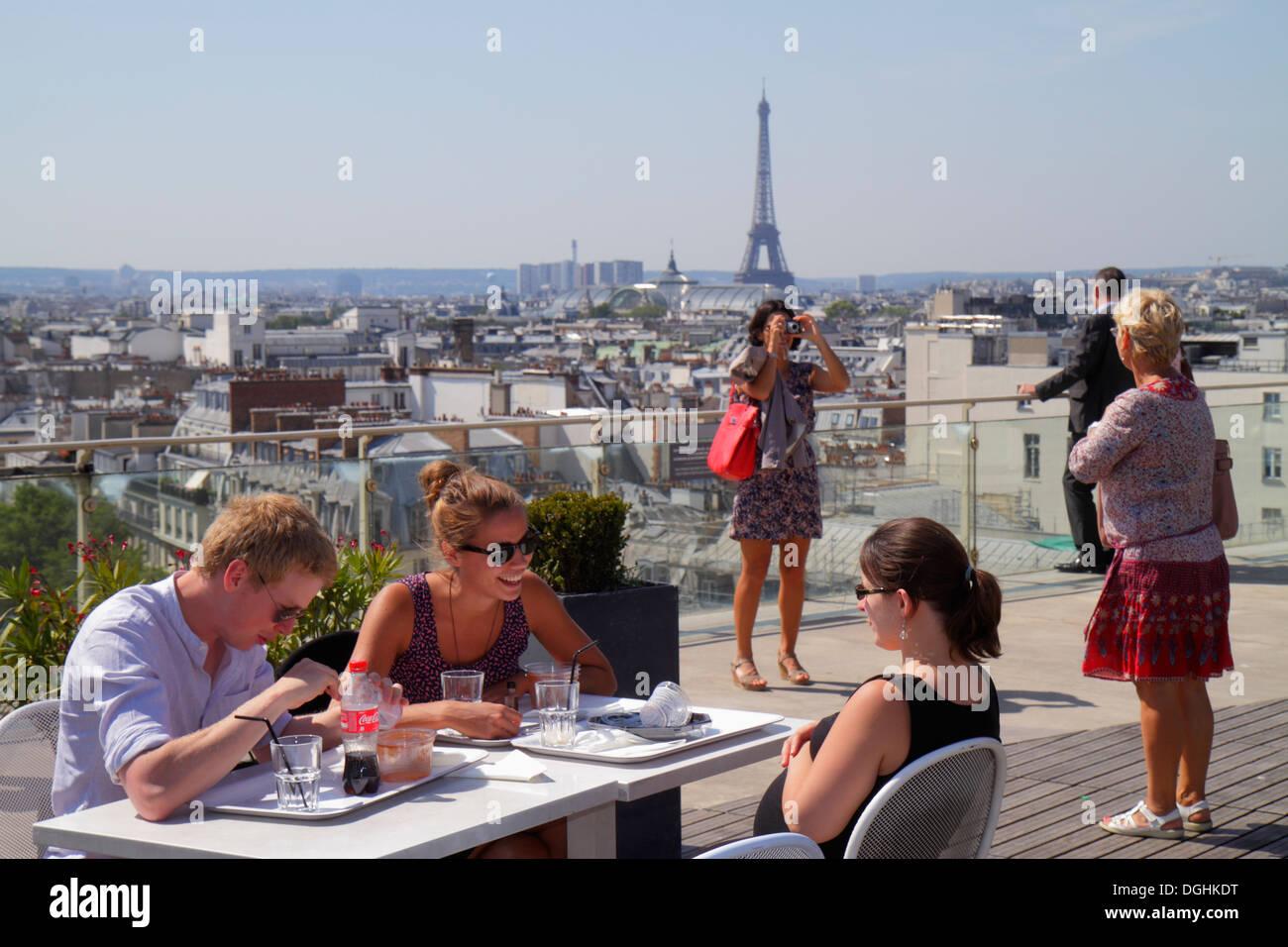 Paris France Europe French 9th arrondissement Boulevard Haussmann Au Printemps department store rooftop terrace city skyline vie - Stock Image