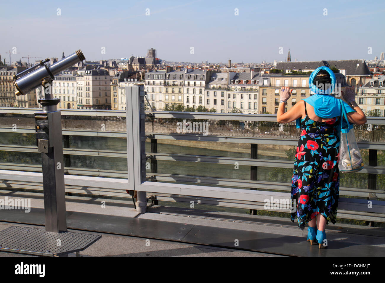 Paris France Europe French 5th arrondissement Arab World Institute AWI Institut du Monde Arabe rooftop terrace city skyline roof - Stock Image
