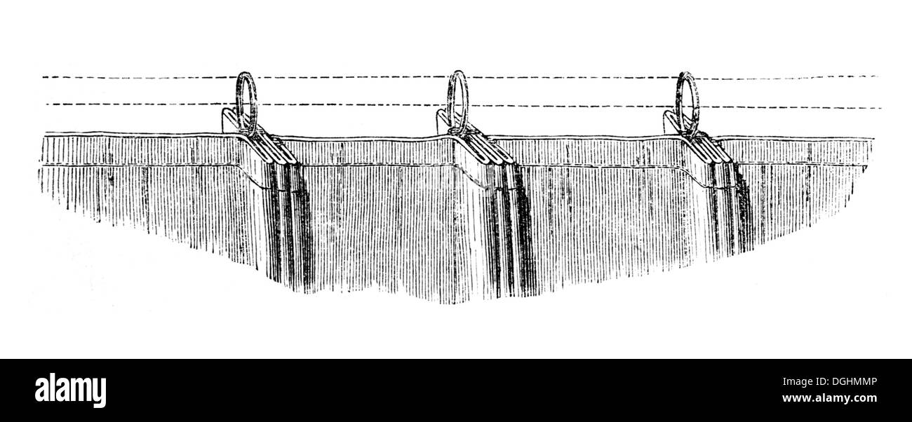 Curtain folds, historical illustration from: Marie Adenfeller, Friedrich Werner: Illustrated cooking and housekeeping book - Stock Image