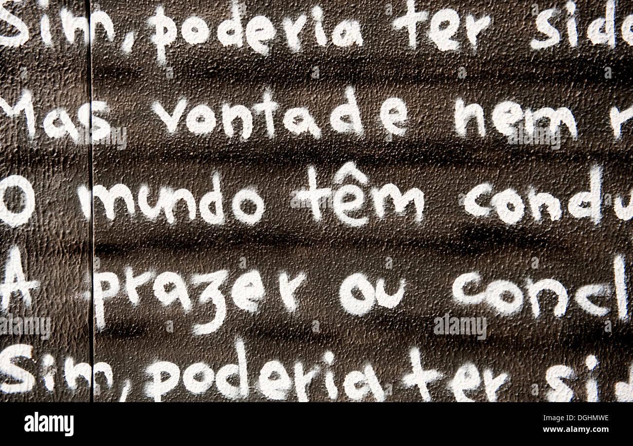 Poem by Fernando Pessoa written on a blackboard, Lisbon, Portugal, Europe - Stock Image