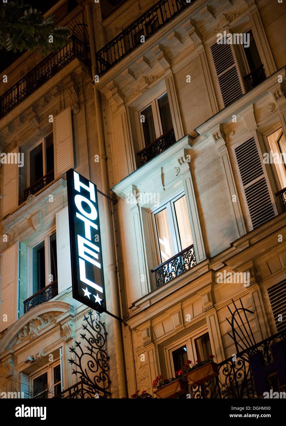 Hotel sign on Bouldevard Saint Marcel, Quartier Latin, Paris, Ile de France region, France, Europe - Stock Image