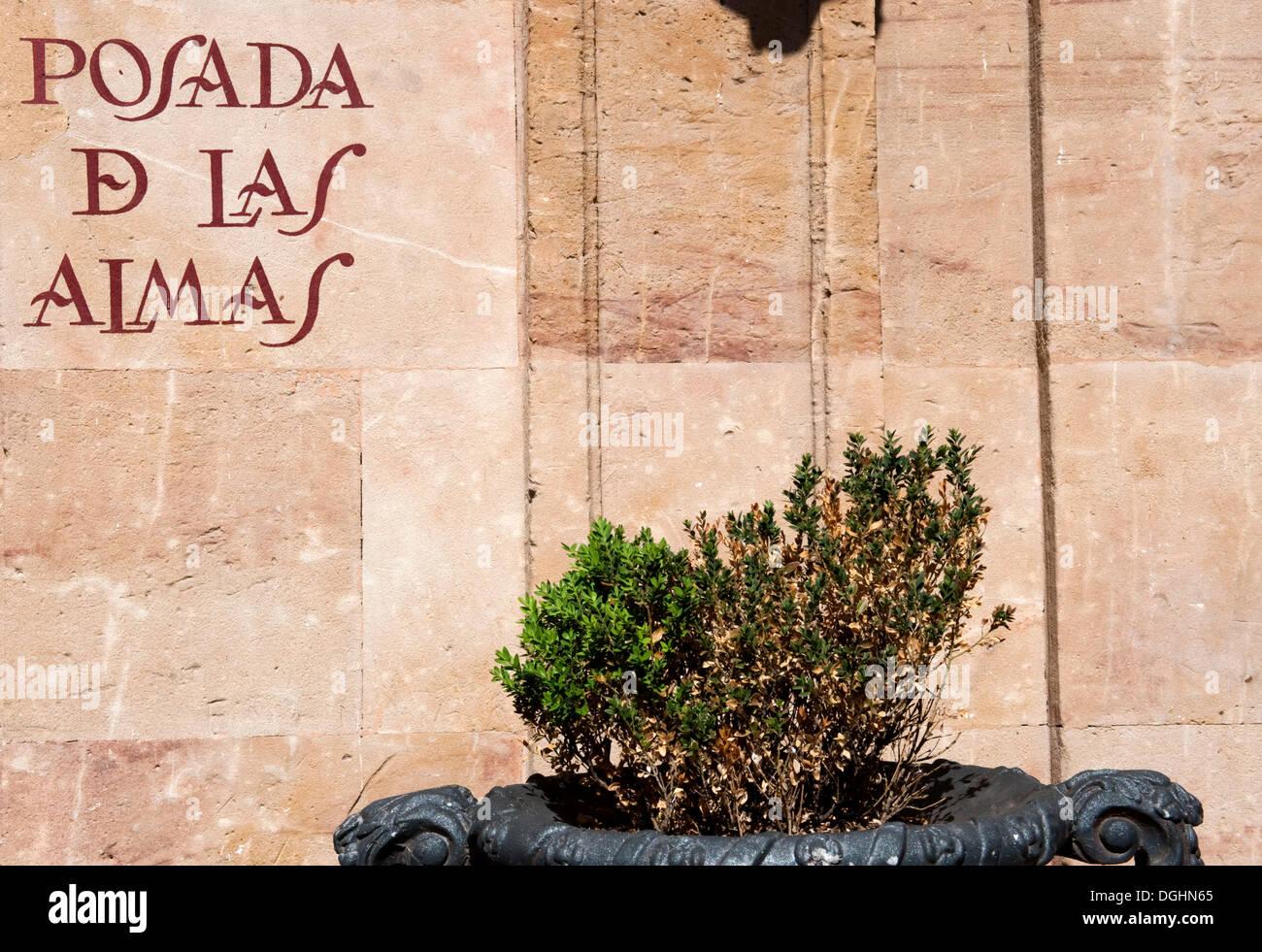 Logo 'Posada de las Almas' written on the bar, Salamanca, Old Castile, Castilla-Leon, Spain, Europe - Stock Image