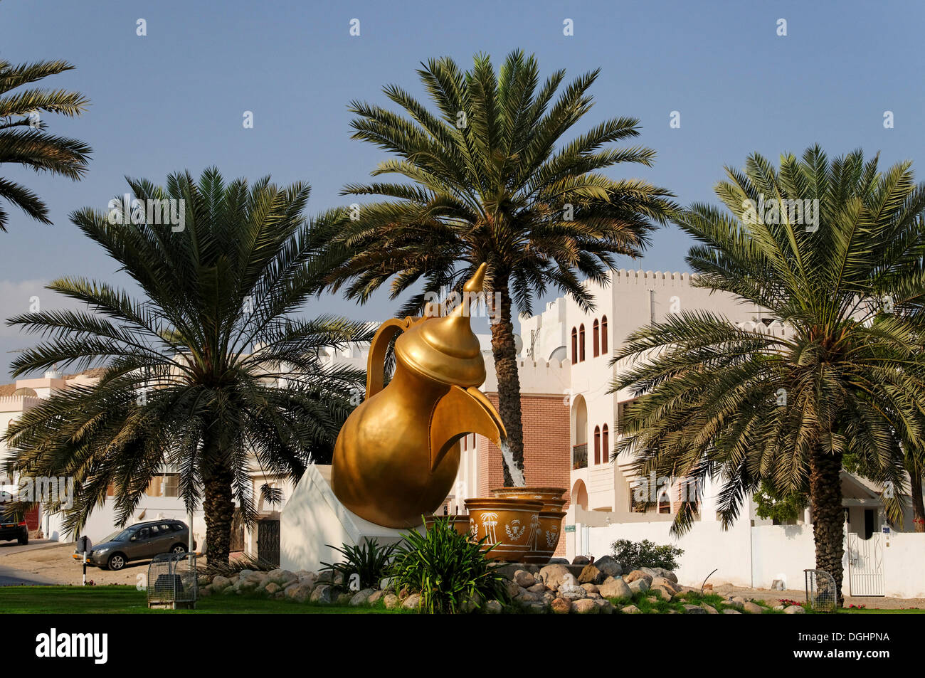 Oversize sculpture of a coffee pot with two cups, Capital Area, Oman, Middle East - Stock Image