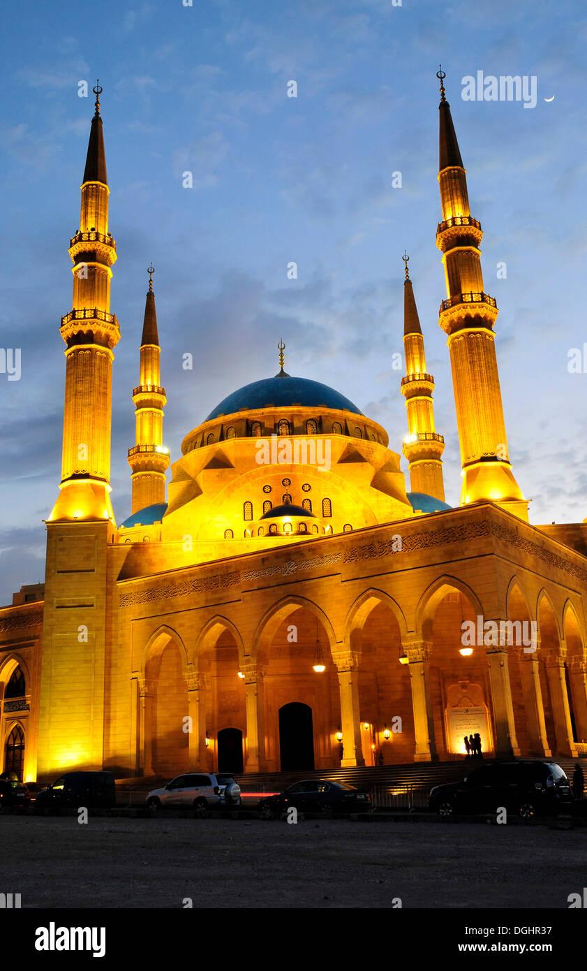 Khatem al-Anbiyaa Mosque at dusk, Beirut, Lebanon, Middle East, Orient - Stock Image