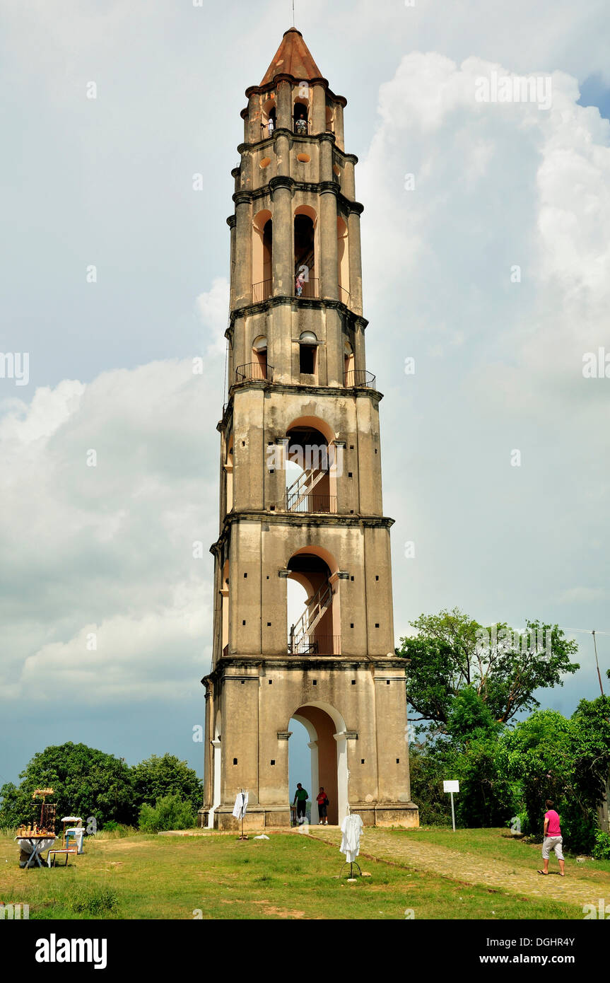 Seven-storeyed Iznaga Tower, a 50 meters high slave tower, Valle de los Ingenios Valley, Valley of the Sugar Mills - Stock Image