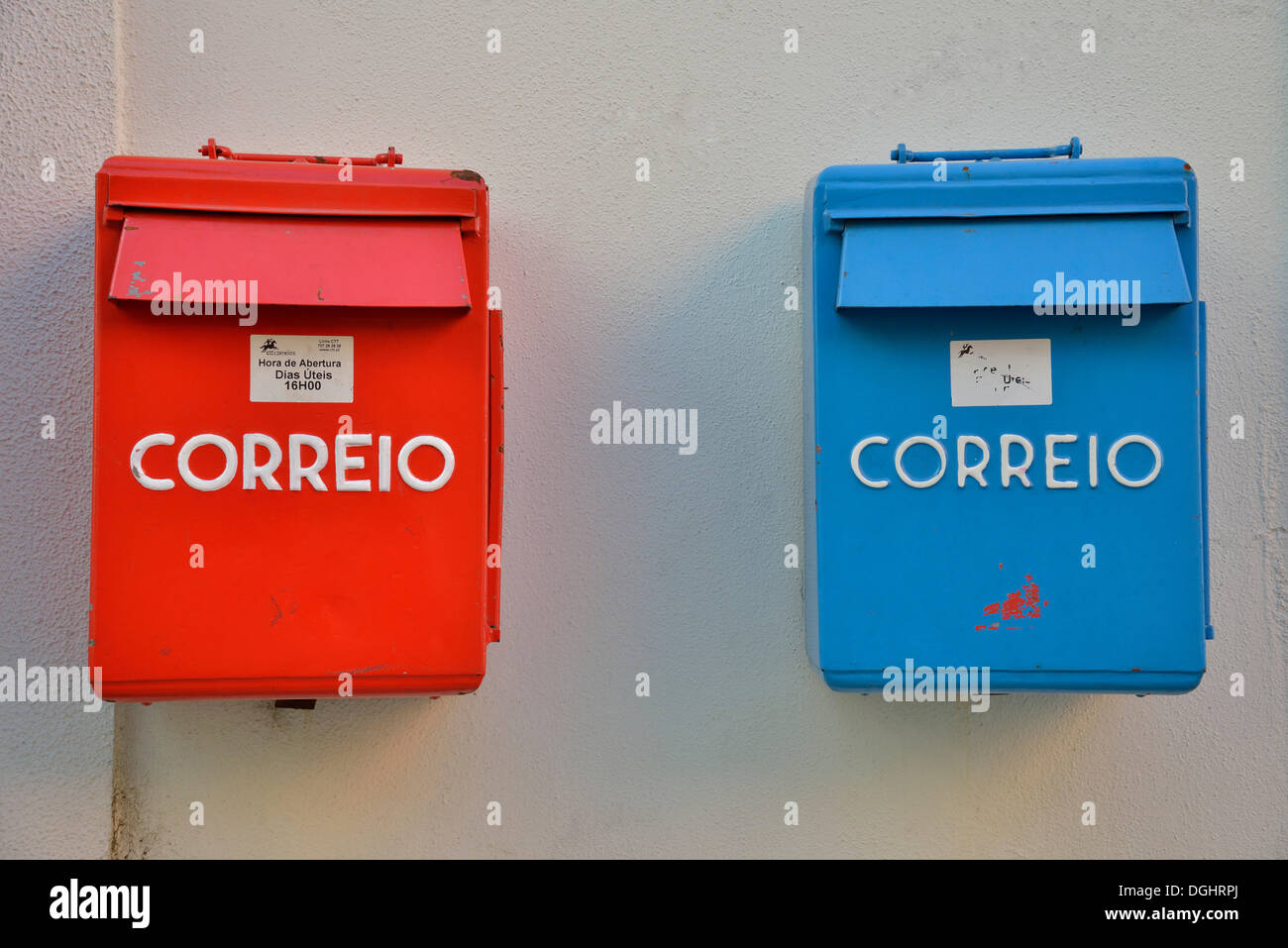 Red and blue mailboxes, Alfama, Lisbon, Lisbon District, Portugal - Stock Image