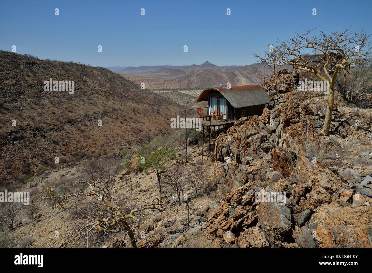 Etambura Camp, lodge run by Himba, near Orupembe, Kaokoland, Kunene, Namibia - Stock Image