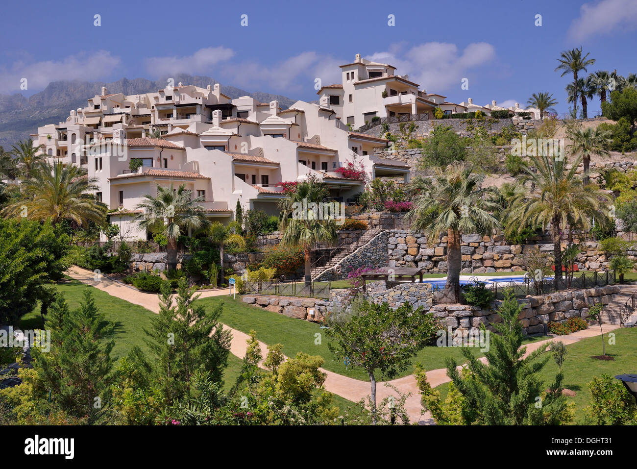 Urbanisation or a holiday home complex in Altea la Olla, La Olla, Altea, Costa Blanca, Alicante province, Spain - Stock Image