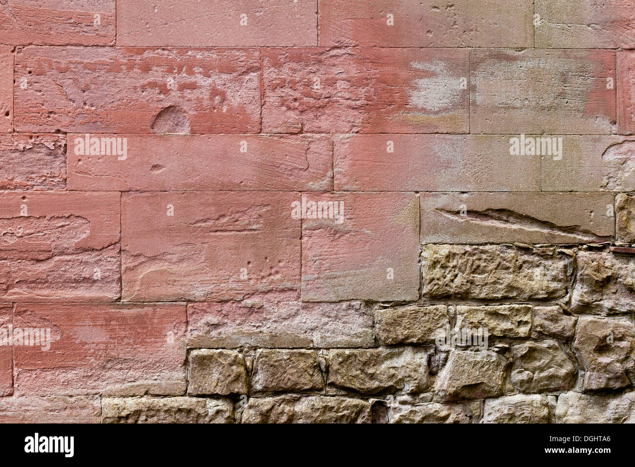 Masonry, Melrose Abbey, Melrose, Scottish Borders, Scotland, United Kingdom - Stock Image