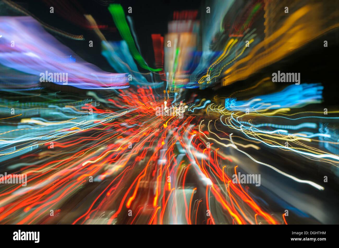 traffic lights in motion blur - Stock Image