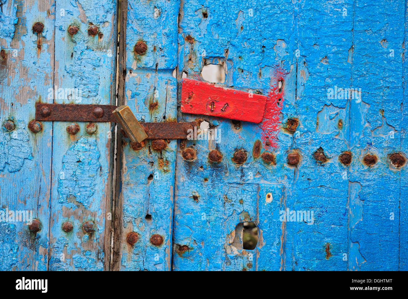 Old door with a padlock, Morocco, Africa - Stock Image