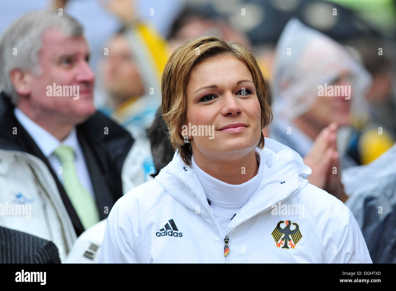 Maria Riesch, ski racer, double Olympic gold medalist, at the reception of the German Olympic participants 2010, Munich, Bavaria - Stock Image