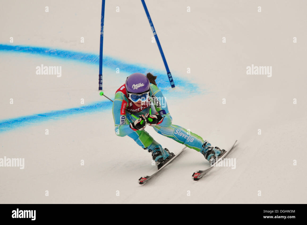 Tina Maze, Slovenia, Ski World Cup, Garmisch-Partenkirchen, Bavaria - Stock Image
