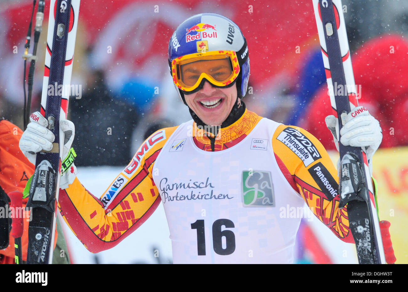 Eric Guay, winner, Super-G 2010, winner of the Super-G overall ranking, small crystal ball as prize, Ski World Cup - Stock Image