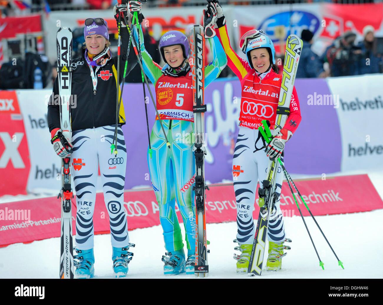 Tina Maze, Maria Riesch, Kathrin Hoelzl, Ski World Cup, Garmisch-Partenkirchen, Bavaria - Stock Image