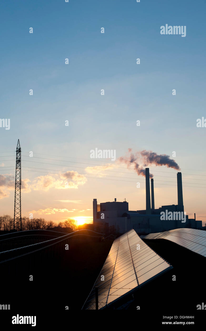 Solar park and Muenchen Nord combined heat and power station, Unterfoehring near Munich, Bavaria - Stock Image