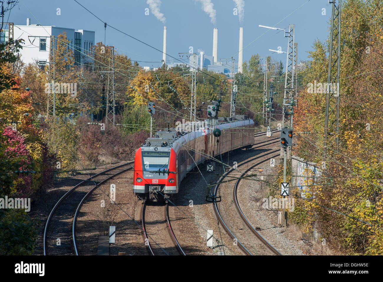 S-Bahn, suburban railway, driving on rail track near Daglfing, Munich, Bavaria - Stock Image