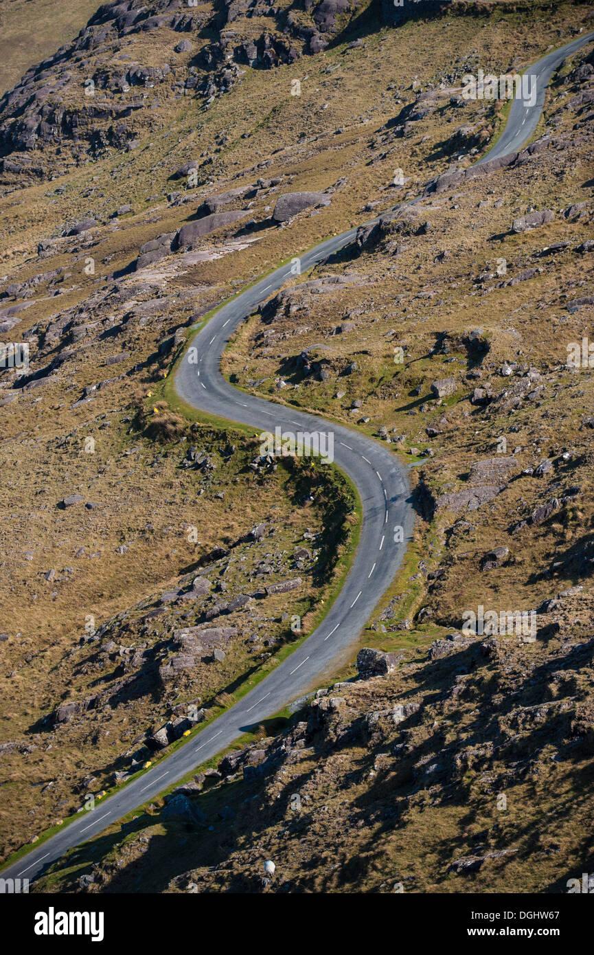 Pass road, Healy Pass, Republic of Ireland, Europe - Stock Image