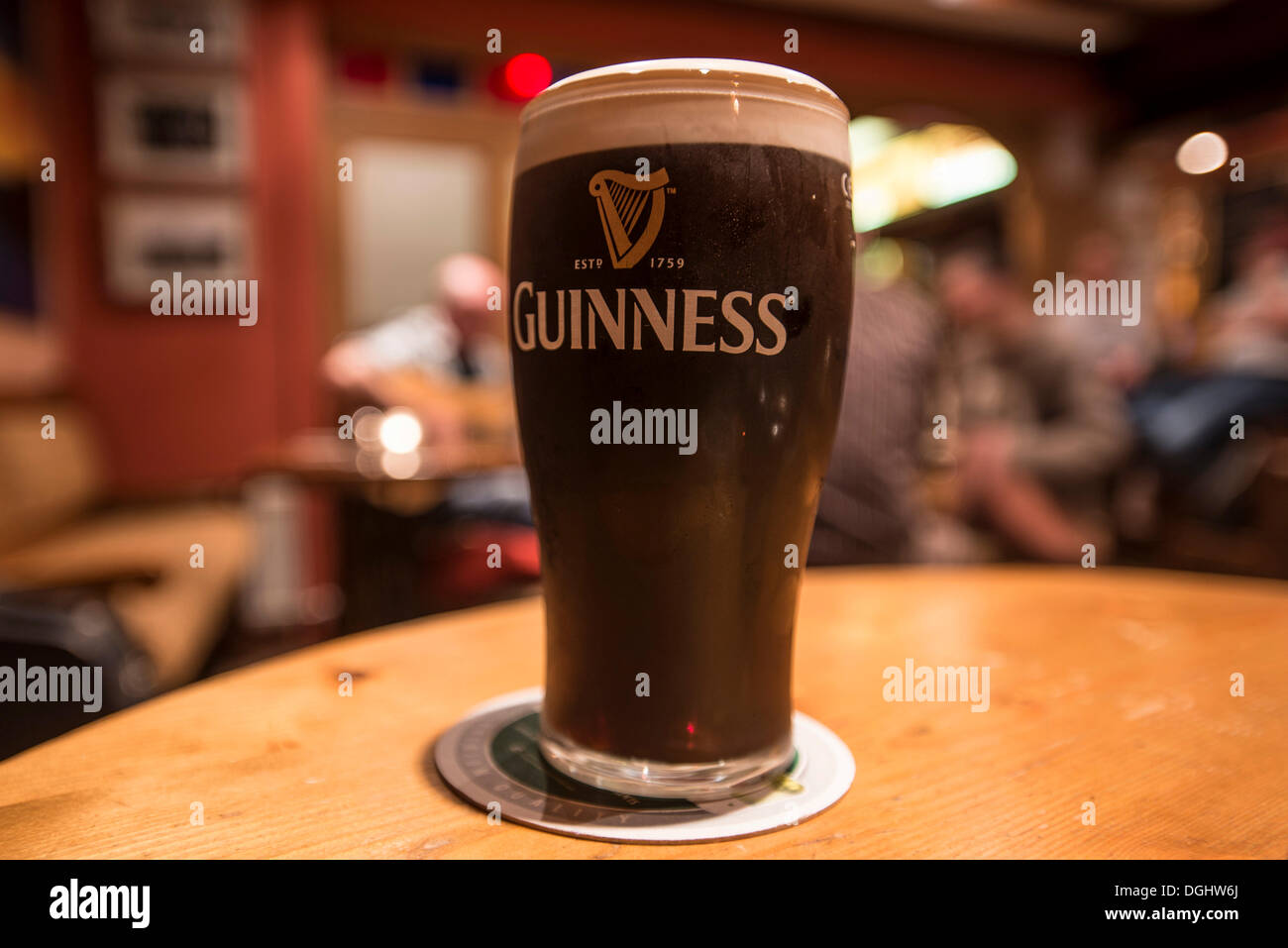 Pint of Guinness in the pub, Allihies, Ring of Beara, Ireland, Europe - Stock Image