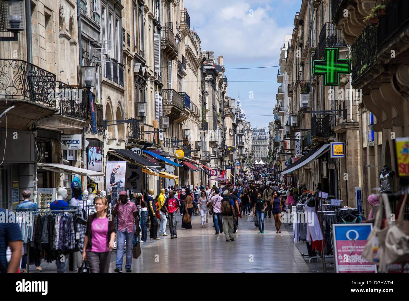 Rue Sainte-Catherine, Bordeaux, Aquitaine, France, Europe - Stock Image