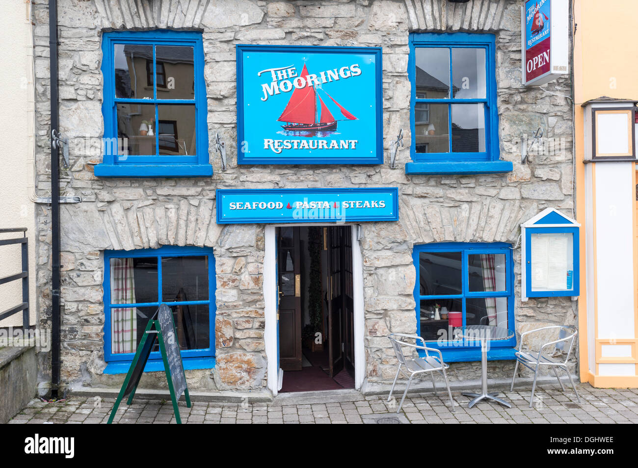 The Moorings Restaurant, Clifden, Connemara, Ireland, Europe, PublicGround - Stock Image