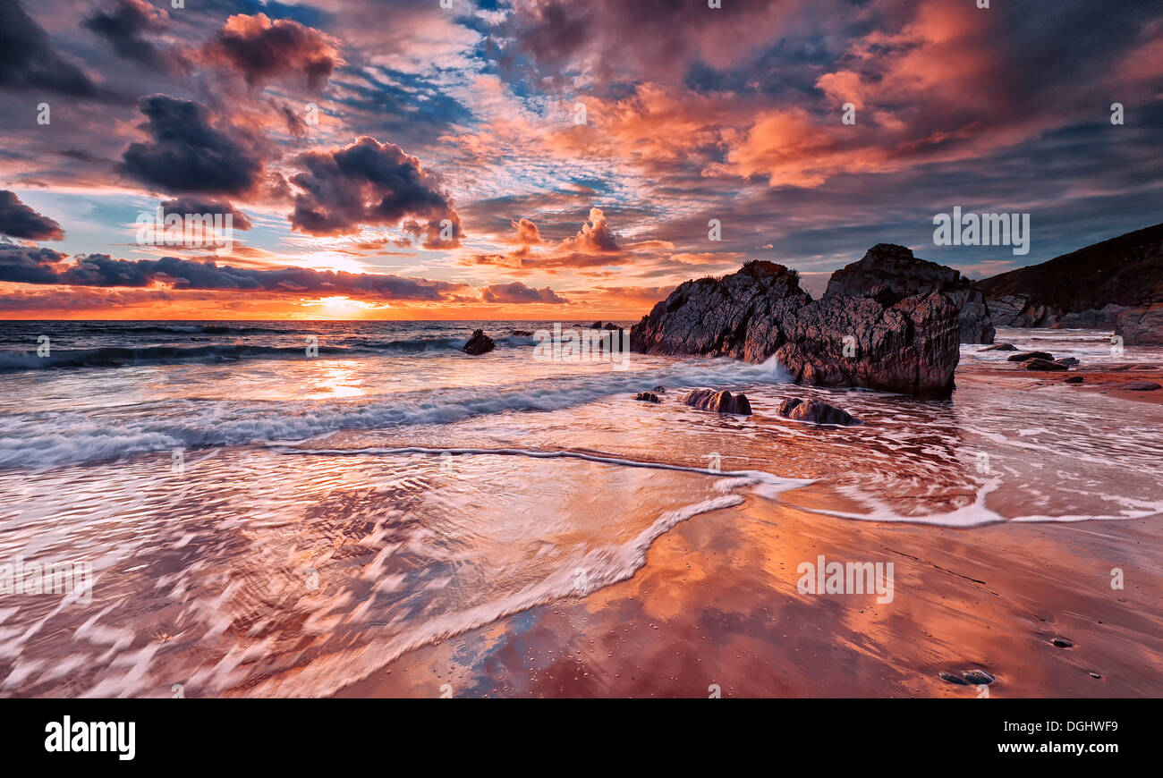 Views across the beach at Whitsand Bay. - Stock Image
