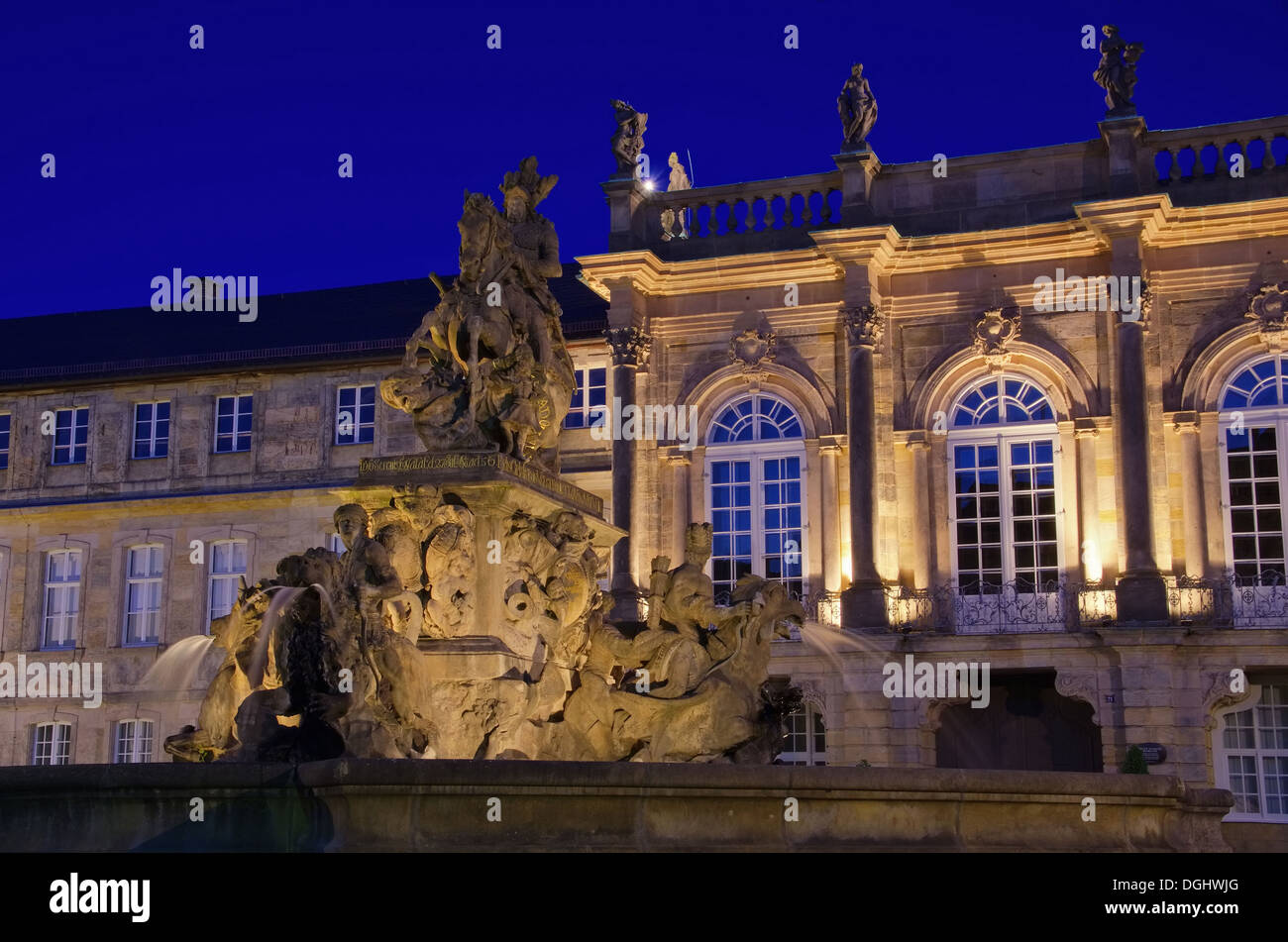 Bayreuth Neues Schloss Nacht - Bayreuth New Palace by night 01 - Stock Image