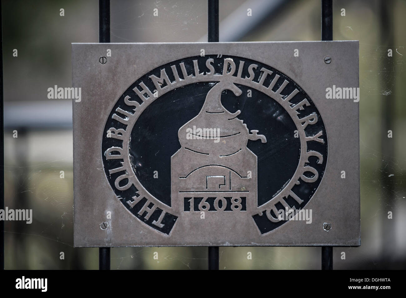 Sign, lettering 'The Old Bushmills Distillery', distillery, Bushmill, Coleraine, Northern Ireland, United Kingdom, Europe - Stock Image