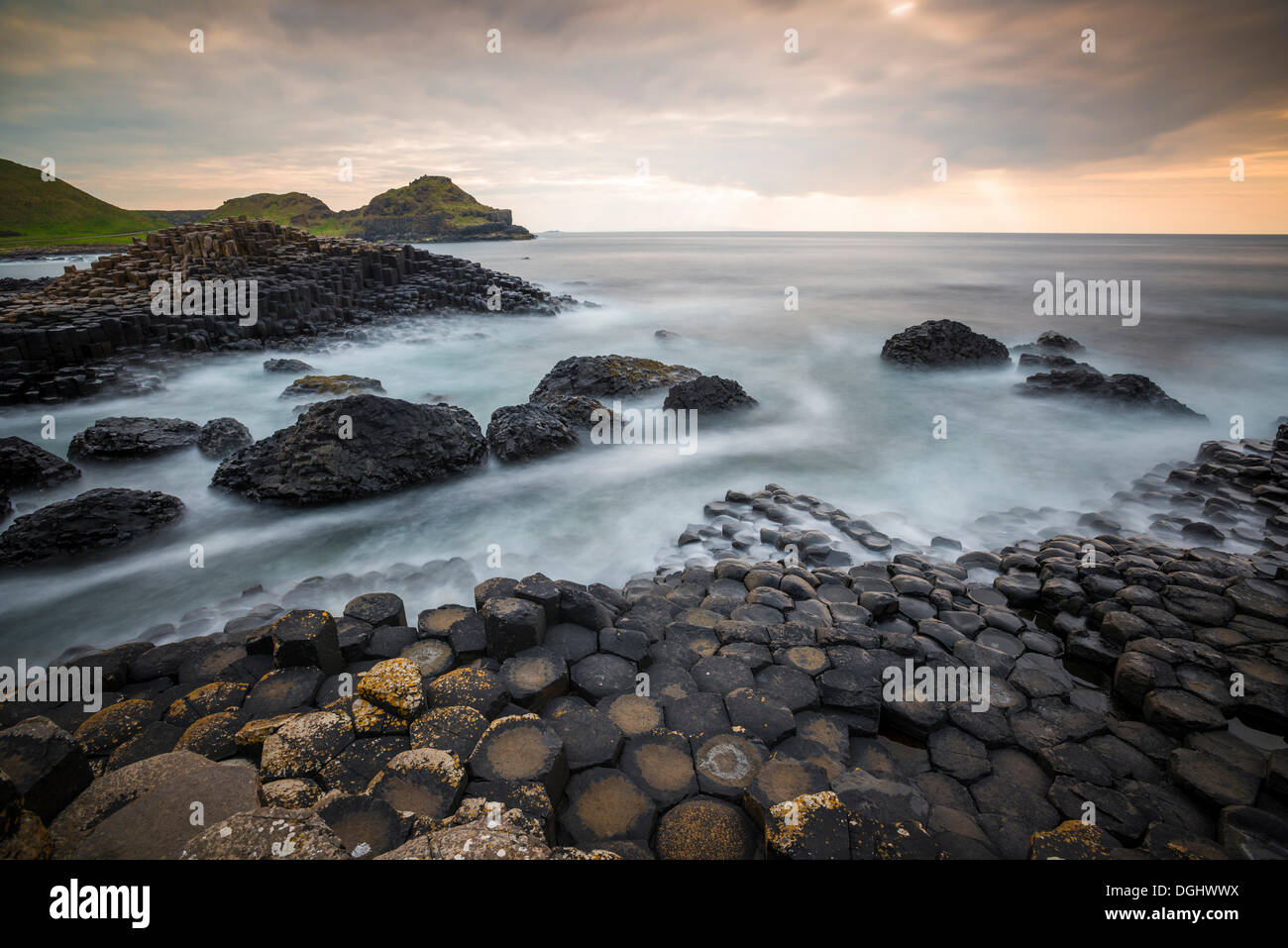 Basalt columns at the Giant's Causeway, Causeway Coast, County Antrim, Northern Ireland, United Kingdom, Europe - Stock Image