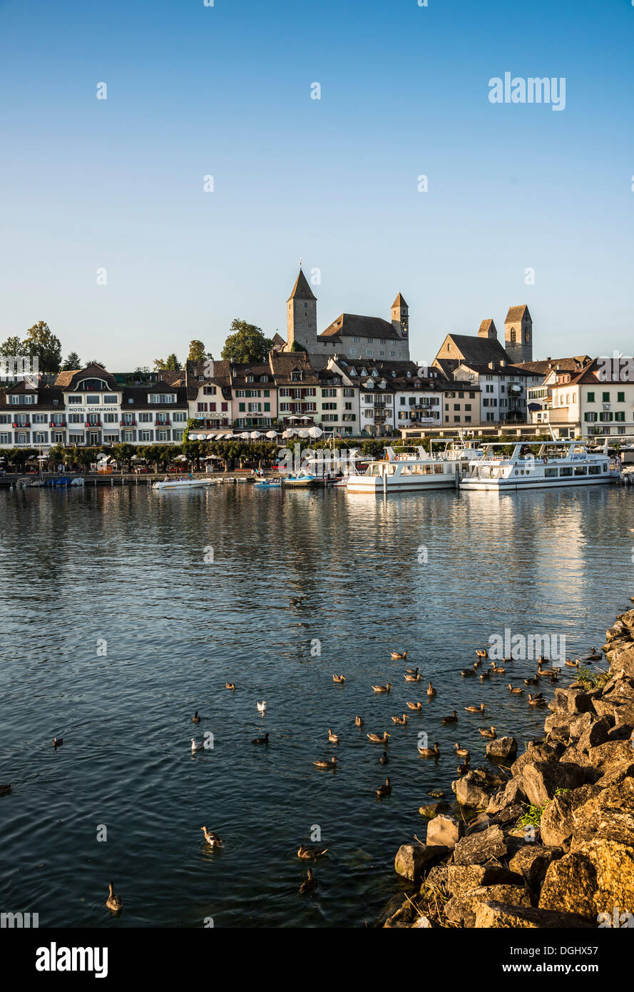 Harbour promenade, harbour, Rapperswil, Rapperswil-Jona, Canton of St. Gallen, Switzerland - Stock Image