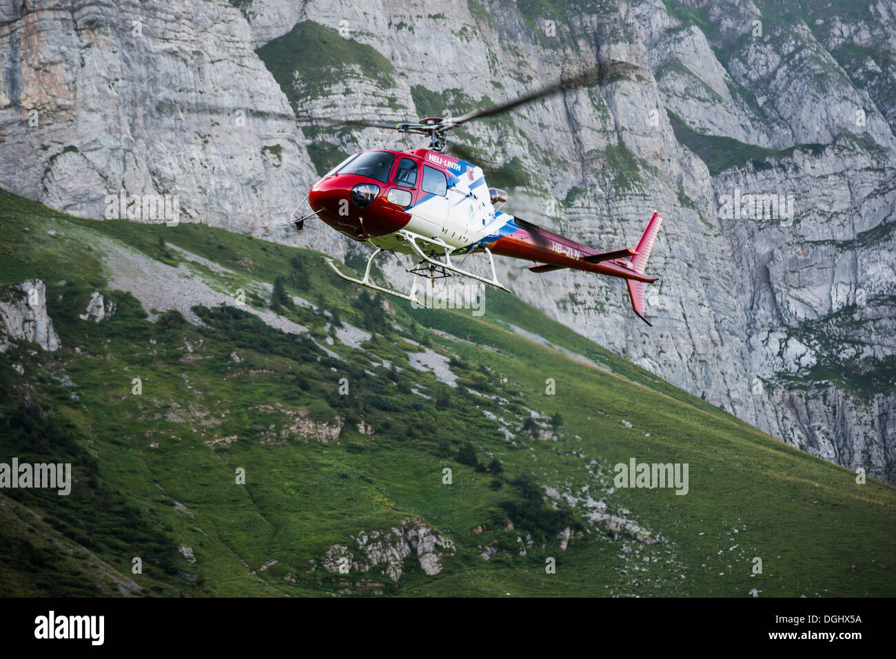Helicopter at Saentis Mountain, Saentis, Hundwil, Canton of Appenzell Ausserrhoden, Switzerland - Stock Image