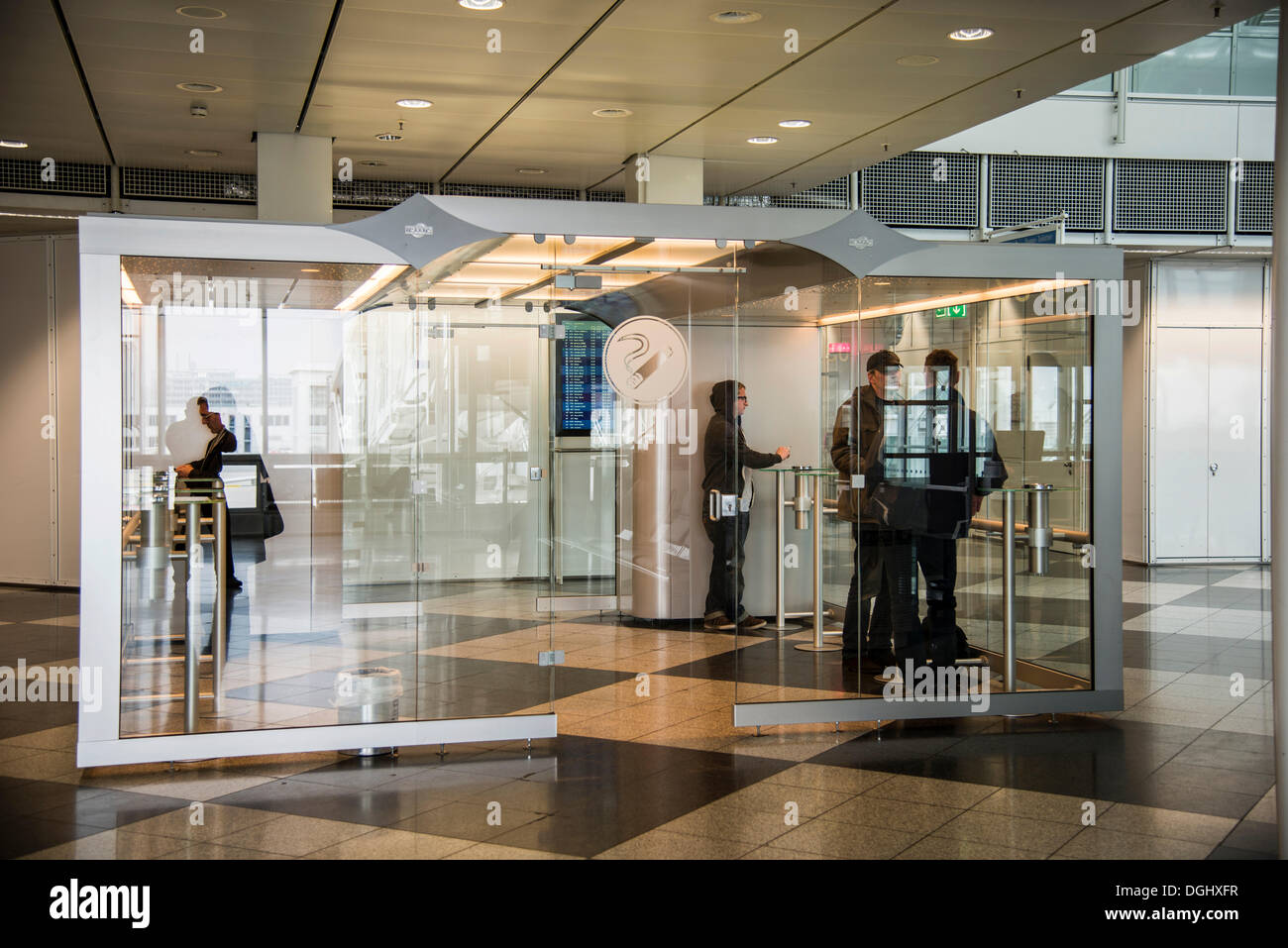 Smokers' cubicle, Franz-Josef-Strauss Airport, Munich, Upper Bavaria, Bavaria, Germany - Stock Image