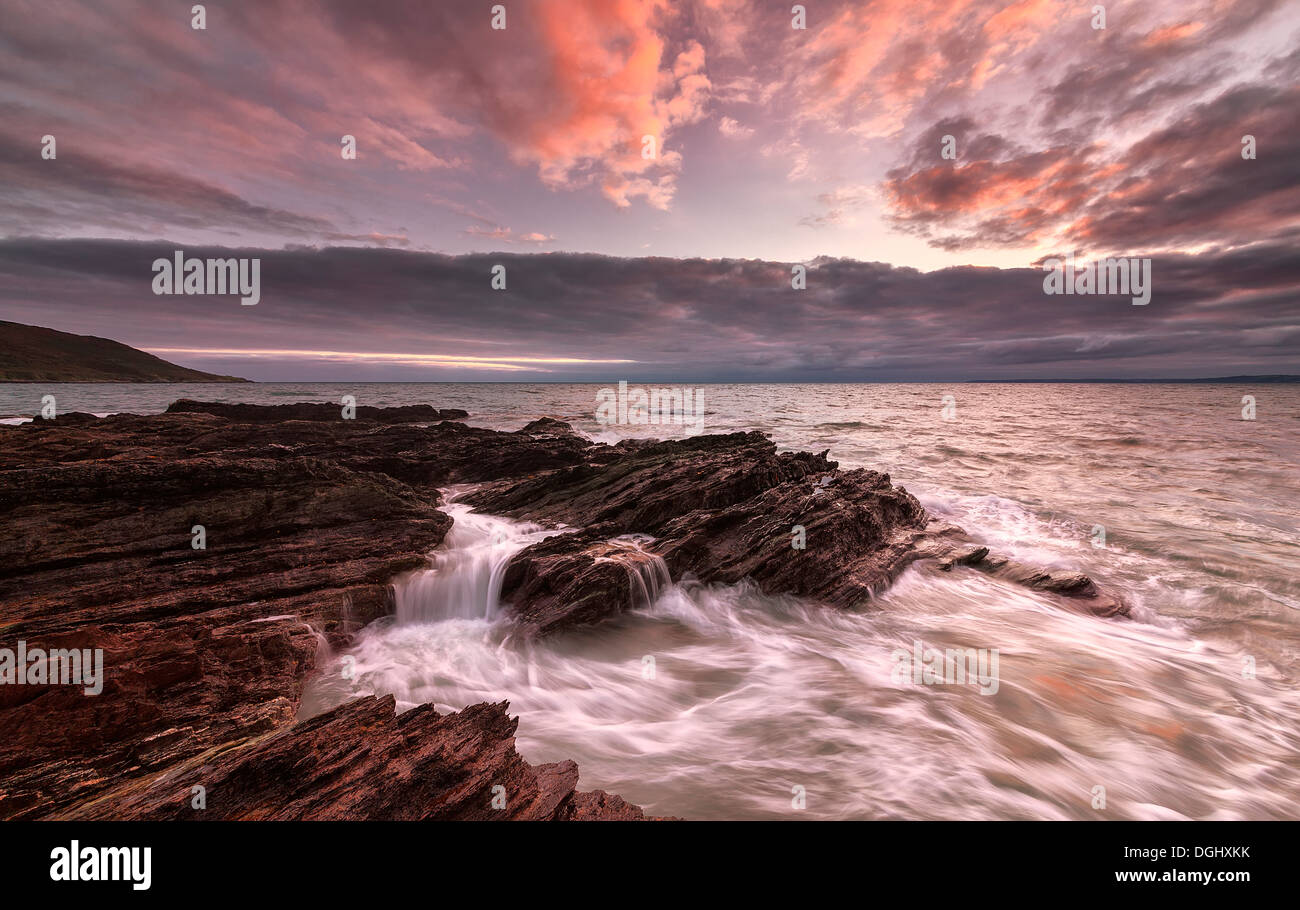 Looking out towards a raging storm at Whitsand Bay. Stock Photo