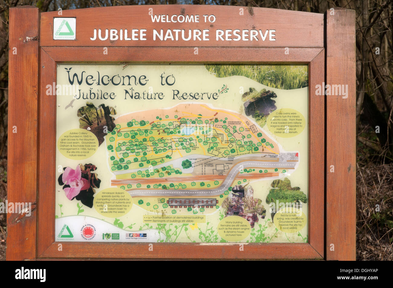 Sign at the Jubilee Nature Reserve in the Beal valley near Shaw, Oldham, Greater Manchester, England, UK - Stock Image